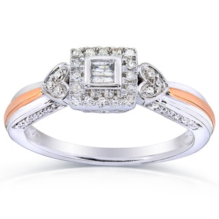 Annello 10k Two-tone Gold 1/4ct TDW Diamond Ring (H-I, I2-I3)