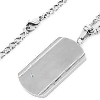 Crucible Stainless Steel Brushed and Polished Cubic Zirconia Dog Tag Pendant Necklace