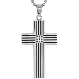 Crucible Stainless Steel Black Plated Striped Cubic Zirconia Cross Pendant Necklace