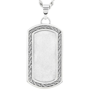 Crucbile Stainless Steel Medieval Sandblasted and Cable Inlayed Dog Tag Pendant Necklace