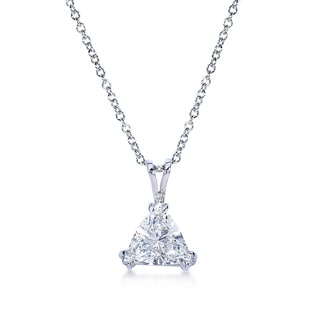 Annello 14k White Gold Certified 2 1/6ct Trillion Cut Triangle Diamond Necklace