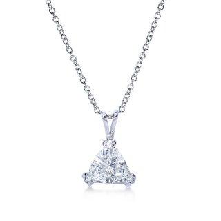 Annello 14k White Gold Certified 2 1/6ct Trillion Cut Triangle Diamond Necklace