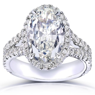 Annello 14k White Gold 4 5/8ct TDW Certified Oval Diamond Halo Engagement Ring (H, VVS2)