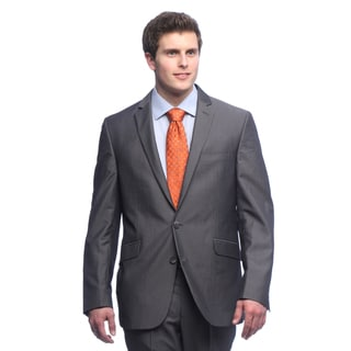 Kenneth Cole Reaction Men's Slim Fit Grey Bankers Striped Suit Separate Coat