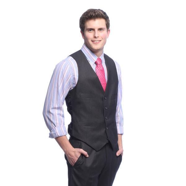 Kenneth Cole Reaction Men's Slim Fit Charcoal Suit Separates Vest