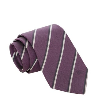 Burberry Purple and Grey College Striped Silk Tie