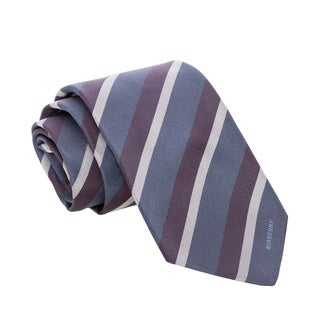 Burberry Navy and Grey Striped Woven Silk Tie
