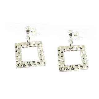 Handcrafted Sterling Silver Hammered Square Dangle Earrings (Mexico)