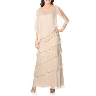 Ignite Women's Champagne Lace Tiered Gown with Sheer Poncho