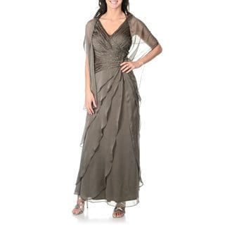 Ignite Women's Dark Moss Embellished Bodice Asymmetrical Tiered Gown