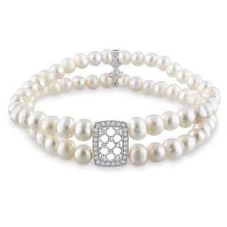 Miadora Sterling Silver Cultured Freshwater Pearl and Cubic Zirconia Bracelet (5-6 mm) with Bonus Ea