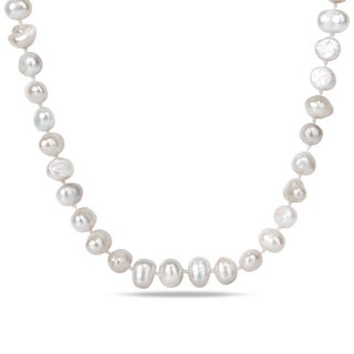 M by Miadora Base Metal White Cultured Freshwater Pearl Necklace (8-9 mm)