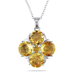 Miadora Sterling Silver 7 3/5ct TGW Citrine Necklace