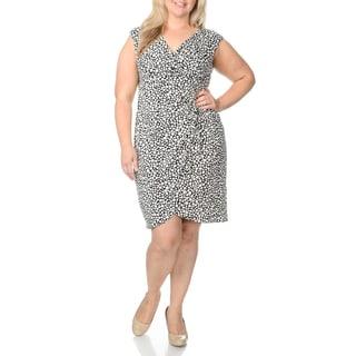 London Times Women's Plus Size Novelty Print Mock-wrap Dress