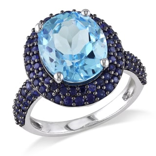 Miadora Sterling Silver Blue Topaz and Created Blue Sapphire Cocktail Ring