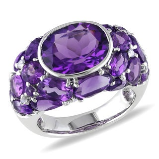 Miadora Silver 11ct TGW Amethyst and 1/10ct TDW Diamond Ring (H-I, I2-I3)