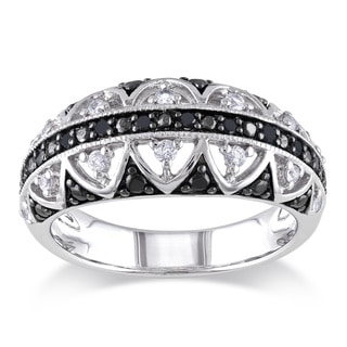 Miadora Silver White Sapphire and 1/10ct TDW Black Diamond Ring