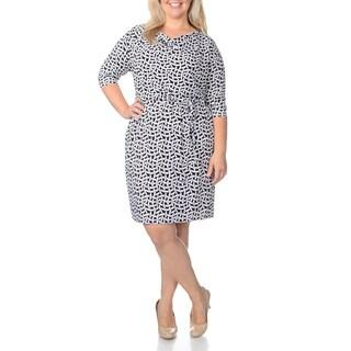 London Times Women's Plus Size Geometric Novelty Print Dress