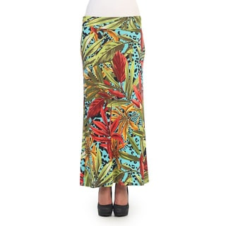 Hadari Women's Green and Aqua Jungle Print Maxi Skirt