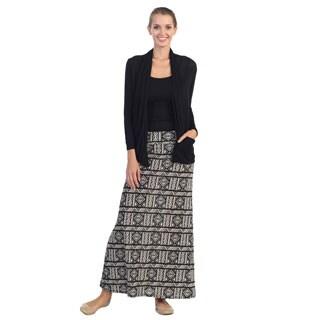 Hadari Women's Taupe Tribal Print Maxi Skirt