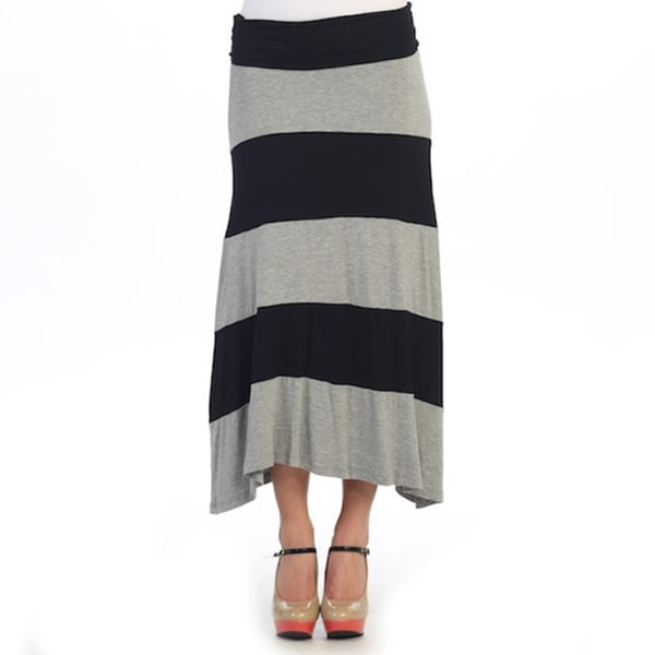Hadari Women's Black and Grey Striped Maxi Skirt