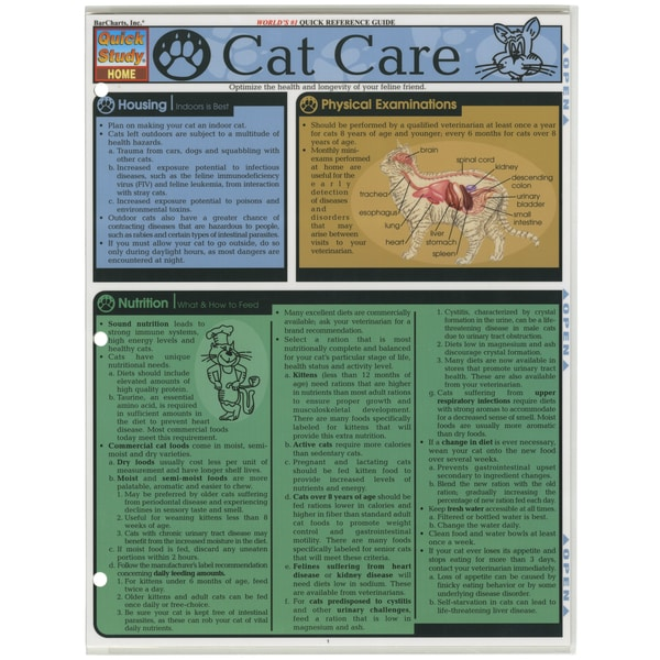 Quick Study Reference Guide-Cat Care