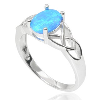 Journee Collection Sterling Silver Faux Opal Celtic Design Ring