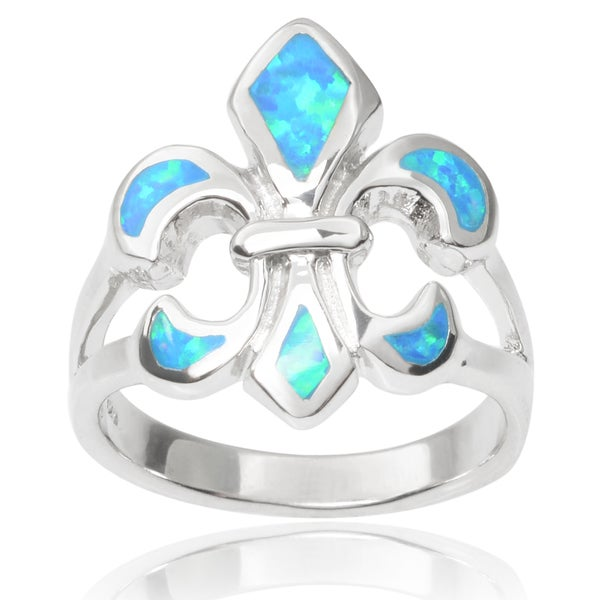 Journee Collection Sterling Silver Faux Opal Fleur-di-lis Ring