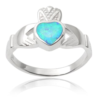 Journee Collection Sterling Silver Faux Opal Claddagh Ring