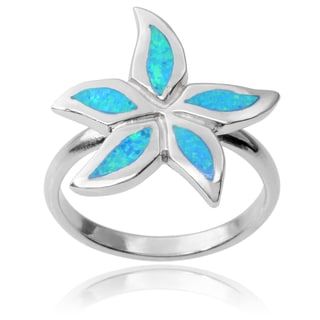 Journee Collection Sterling Silver Faux Opal Flower Ring