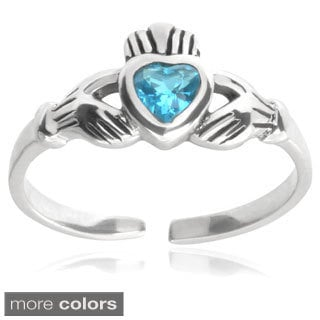 Journee Collection Sterling Silver Cubic Zirconia Claddagh Toe Ring