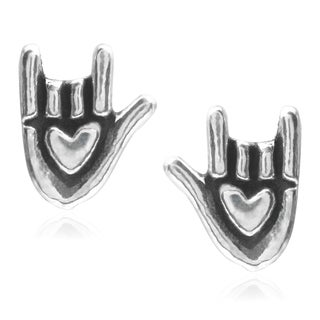Journee Collection Sterling Silver Love Symbol Stud Earrings