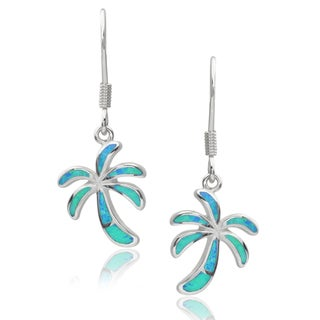 Tressa Collection Sterling Silver Gemstone Palm Tree Drop Earrings