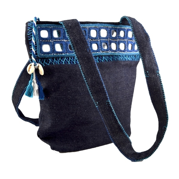 Denim Mirror-accent Shoulder Bag (India)