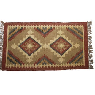 Hand-woven Indo Wool and Jute Beige/ Maroon Kilim Flat-weave Rug (3' x 5')