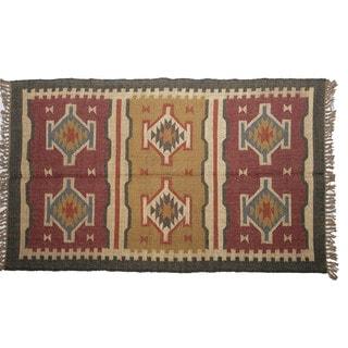 Hand-woven Indo Wool and Jute Beige/ Green Kilim Flat-weave Rug (3' x 5')