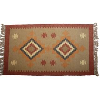 Hand-woven Indo Wool and Jute Rust/ Beige Kilim Flat-weave Rug (3' x 5')
