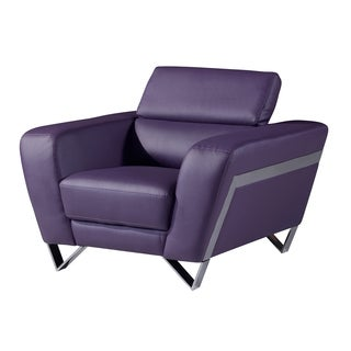 Natalie Purple Bonded Leather Arm Chair