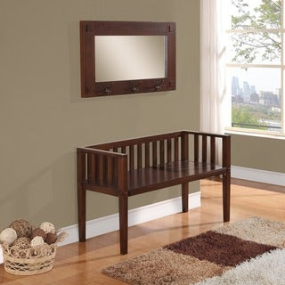 WYNDENHALL Huntington Collection Dark Tobacco Brown Entryway Storage Bench with Mirror