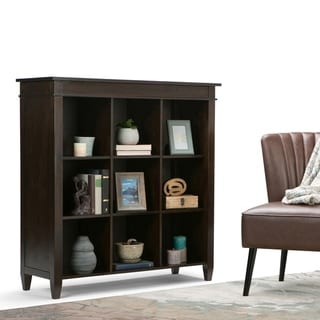 WYNDENHALL Sterling SOLID WOOD 46 inch x 44 inch Contemporary 9 Cube Bookcase and Storage Unit in Dark Tobacco Brown