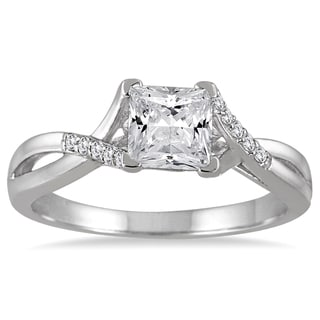 14k White Gold 7/8ct TDW Princess-cut Diamond Engagement Ring (H-I, I1-I2)
