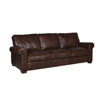 Hudson Cocoa Top-grain Leather 96-inch Sofa