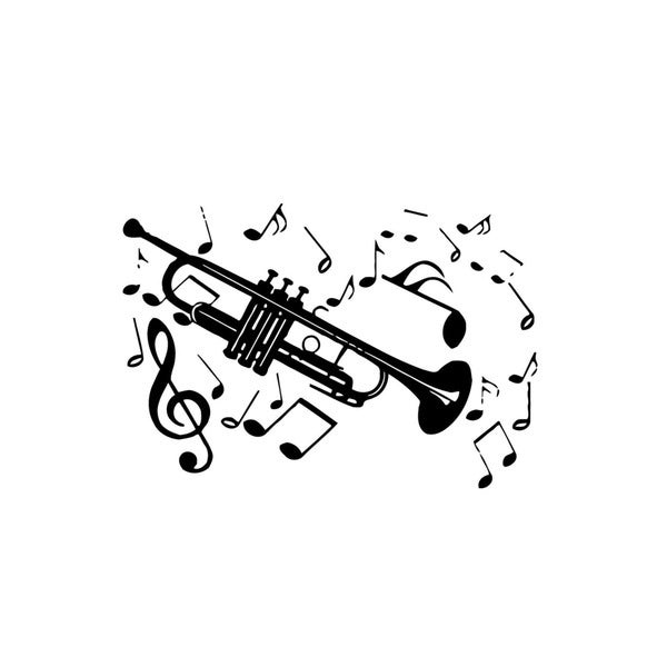 Alto Saxophone Music Notes Mural Vinyl Wall Art