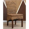 International Caravan 'Gaby' Woven Abaca Dining Chairs with Mahogany Hardwood Frame (Set of 2)