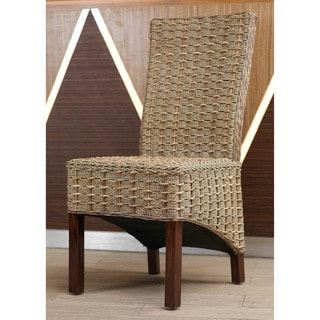 International Caravan 'Bayu' Woven Abaca/ Seagrass Dining Chairs with Mahogany Hardwood Frame (Set of 2)