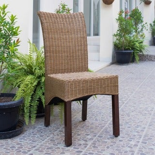 International Caravan 'Campbell' Rattan Wicker Stained Finish Dining Chair with Mahogany Hardwood Frame (Set of 2)