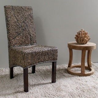 International Caravan 'Lambada' Woven Hyacinth Dining Chairs with Mahogany Hardwood Frame (Set of 2)