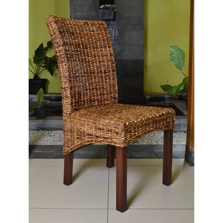 International Caravan 'Kyla' Woven Abaca Dining Chairs with Mahogany Hardwood Frame (Set of 2)