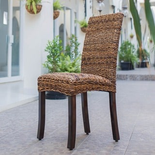 International Caravan 'Louisa' Woven Abaca Cushioned Dining Chairs with Mahogany Hardwood Frame (Set of 2)