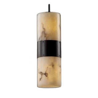 Justice Design Group LumenAria 2-light Faux Alabaster Resin Flat Rim Shade Pendant